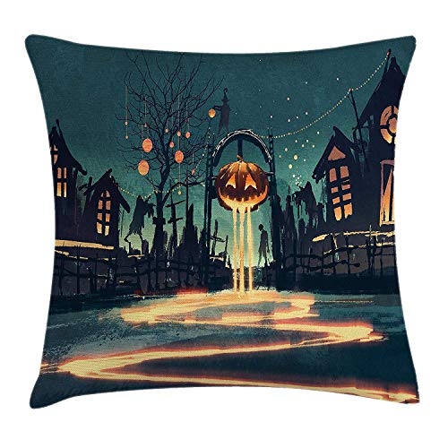 Riolaops Fantasy Art House Decor Throw Pillow Cushion Cover by, Halloween Theme Night Pumpkin and Haunted House Ghost Town Artful, Decorative Square Accent Pillow Case, 12 X 12 Inches, Teal Orange -