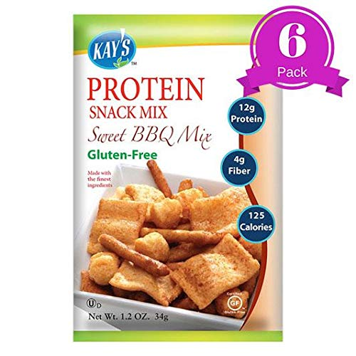 Kay's Naturals Protein Snack Mix, Sweet BBQ, Gluten-Free, Low Carbs, Low Fat, All Natural Flavorings, 1.2 oz (Pack of 6)