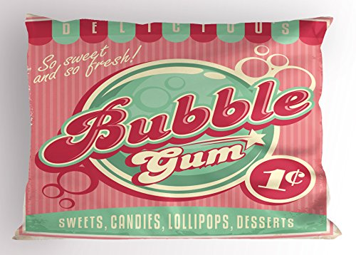 (Lunarable 1950s Pillow Sham, Bubble Gum Tasty Candy Lollipop Sweet Sugar Advertise Poster Style, Decorative Standard Size Printed Pillowcase, 26 X 20 inches, Light Pink Magenta)
