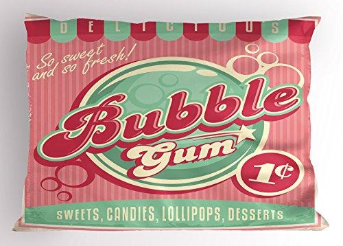 Lunarable 1950s Pillow Sham, Bubble Gum Tasty Candy Lollipop