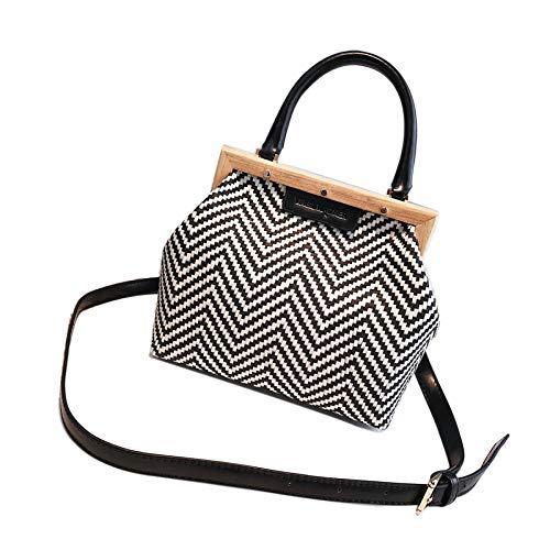 Jhmy Sac à main, Vintage Straw, Sac à bandoulière à longue chaîne en tissu littéraire carré simple et polyvalent (21 * 18 9 Cm) 3 couleurs optionnelles, noir noir
