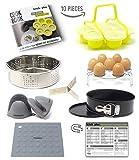 Instant Pot Accessories Set 10 pieces | by Kitchnplus | Fits Pressure Cooker 6 to 8 Qt - Egg Bites Mold, Springform Pan, Steamer Basket, Egg Rack, Oven Mitts/Mat, Cheat Sheet Magnet, Recipes Booklet