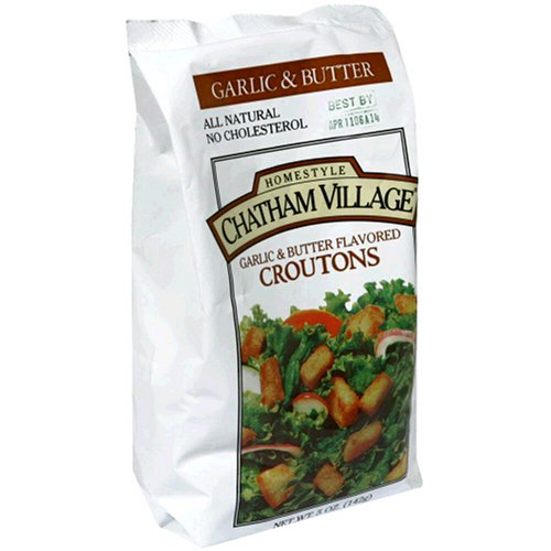 Chatham Village Croutons  Garlic   Butter Flavored  5 Ounce Bags  Pack Of 12