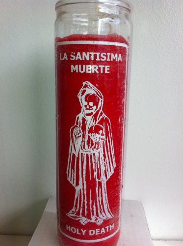 Holy Death (Santa Muerte) 7 Day Red Unscented Candle in Glass by Brilux