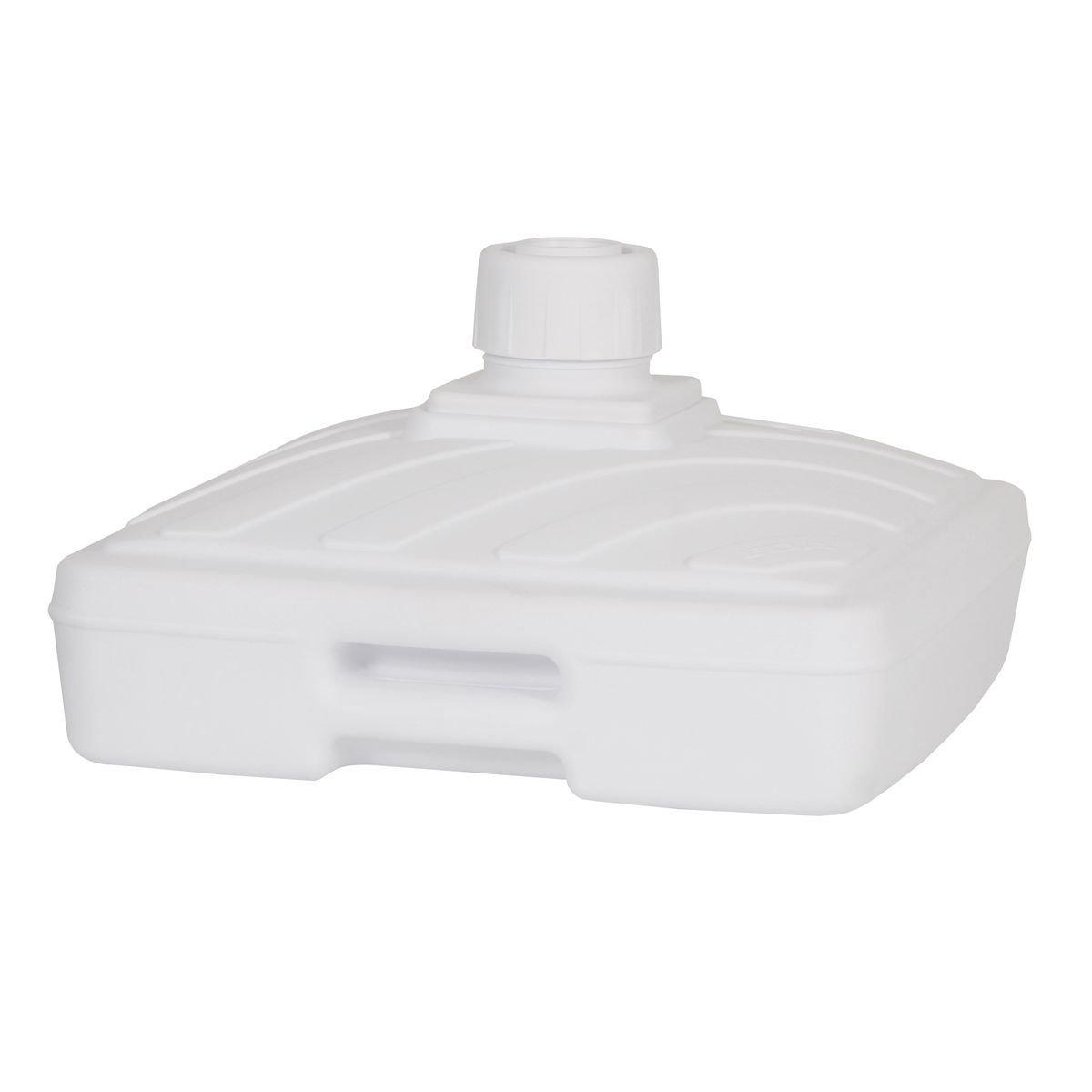 greemotion Soporte para sombrilla con ruedas y mango - Pantalla Soporte para sombrilla de plástico rellenable 40 L de agua sin arena, color blanco, ...