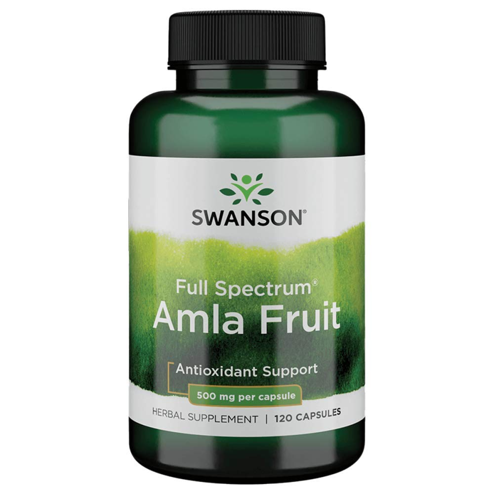 Swanson Full Spectrum Amla Fruit (Indian Gooseberry) 500 Milligrams 120 Capsules