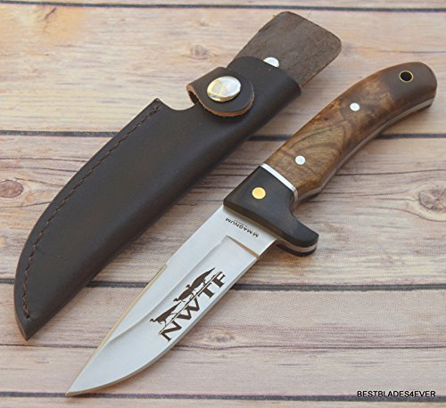 New Boker Magnum - BOKER MAGNUM ROOT WOOD HANDLE FIXED BLADE HUNTING KNIFE WITH LEATHER SHEATH + free eBook by ProTactical'US