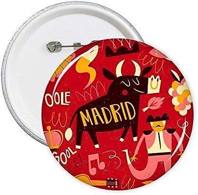 Madrid España corrida de toros música fiesta clavijas redondas insignia botón ropa decoración regalo 5pcs: Amazon.es: Oficina y papelería