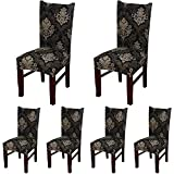 ColorBird European Style Spandex Fabric Chair Slipcovers Removable Universal Stretch Elastic Chair Protector Covers for Dining Room, Hotel, Banquet, Ceremony (Set of 6, Black/Brown Damask)