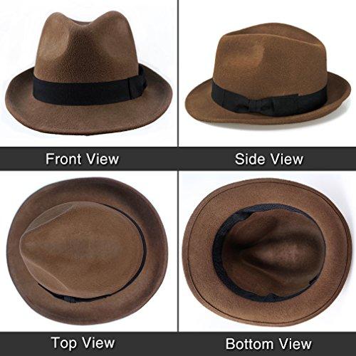 Wool Trilby Hat Men Women Felt Fedora Hat Panama Manhattan Structured Give  Thanks (M 385cbe888f