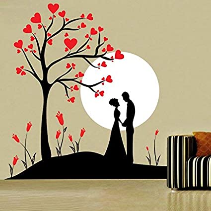 buy decor kafe home decor couple under tree wall sticker, wallbuy decor kafe home decor couple under tree wall sticker, wall sticker for bedroom, wall art, wall poster (pvc vinyl, 48 x 50 cm) online at low prices in