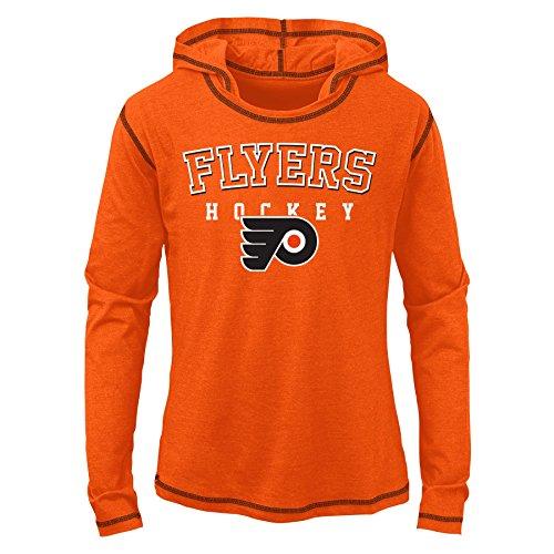 NHL Philadelphia Flyers Youth Girls Loud Fan Drop Shoulder Tee, Varsity Orange, Large(14)