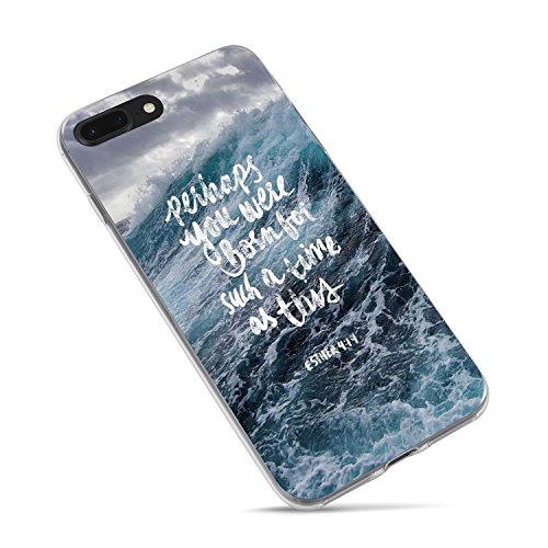iPhone 8 Case Girls,iPhone 7 Case,Ocean Blue Wave Bible Verses Life Quotes Christian Inspirational Sea Wave Esther 4:14 Lord Lord Soft Clear Side Case for iPhone 8/iPhone 7 (Funny Quote Iphone 4 Case)