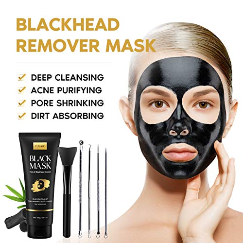 Blackhead Remover Mask Kit, Charcoal Face Mask, Peel Off Face Nose Mask with Face Mask Brush Pimple Extractors, Deep Cleansing Pore Blackhead Acne Removal Black Mask for All Skin Types (3.5 Fl.oz)