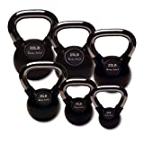 Body-Solid Chrome Handle Rubber Kettle Bell Set Singles (5-50-Pounds)