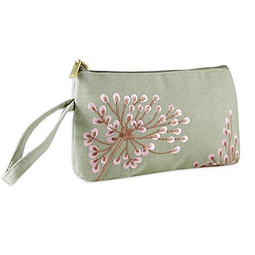 Wristlet Purse - Embroidered Dandelion (Gray -