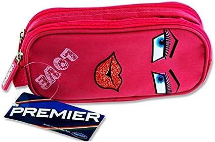 Premier Stationery C5615778 Love Design Campus - Estuche ovalado con 2 bolsillos y cremallera: Amazon.es: Oficina y papelería