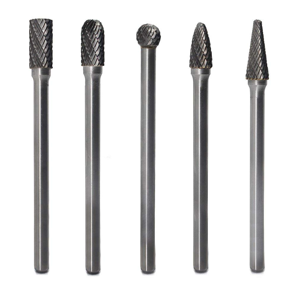 Carbide Burrs Set 5pcs JESTUOUS 1/4 Inch Shank Diameter Extended Long Double Cut edge Solid Carbide Burr Rotery File For Die Grinder Drill Metal Carving Polishing Engraving Drilling