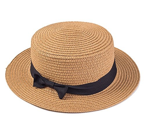 Straw Hat, Gellwhu Women Flat Brim Sun Hat Girl Bow Straw Fedora Panama Hat Boater Cap (Brown)