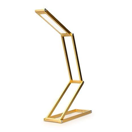 kwmobile Lámparas de mesita de noche de aluminio - Lámpara de pie con batería y cable MicroUSB - Iluminación LED - Flexo de escritorio dorado