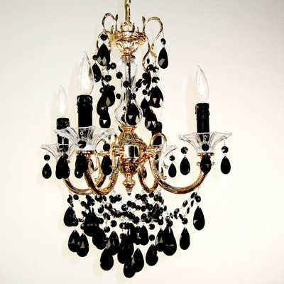 Via Venteo 4 Light Mini-Chandelier Crystal Type: Crystalique Golden Teak, Finish: Champagne - Venteo Champagne Pearl Via