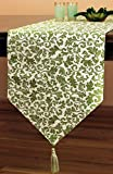 Dining Room Table Decorating Ideas Jacquard Floral Table Runner (Green, 72