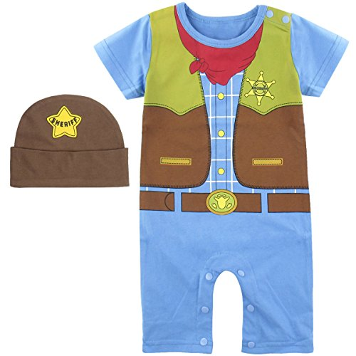 Toddler Little Cowboy Costumes (Mombebe Baby Boys' Western Cowboy Costume Romper with Hat (18-24 Months, Cowboy))
