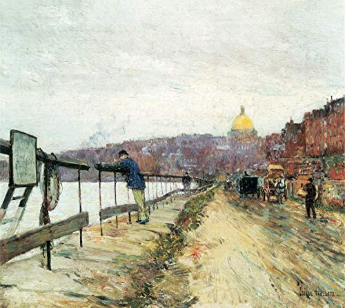 Home Comforts Peel-n-Stick Poster of Hassam, Childe - Charles River and Beacon Hill Vivid Imagery Poster 24 x 16 Adhesive Sticker Poster Print