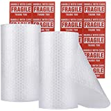 """enKo Bubble Cushioning Wrap Roll 3/16"""" for Moving (2 Rolls, Total: 12 x 60 ft) Perforated Every 12 inch for Easy Tear with 20 Fragile Labels Included"""
