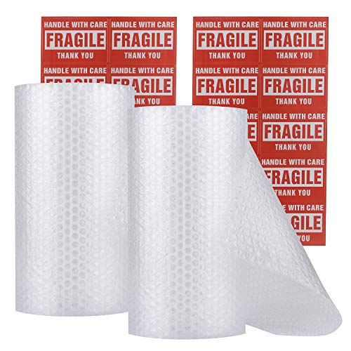 "enKo Bubble Wrap Roll 3/16"" for Cushioning and Moving (2 Rolls, Total: 12 x 60 ft) Perforated Every 12 inch for Easy Tear with 20 Fragile Labels Included"