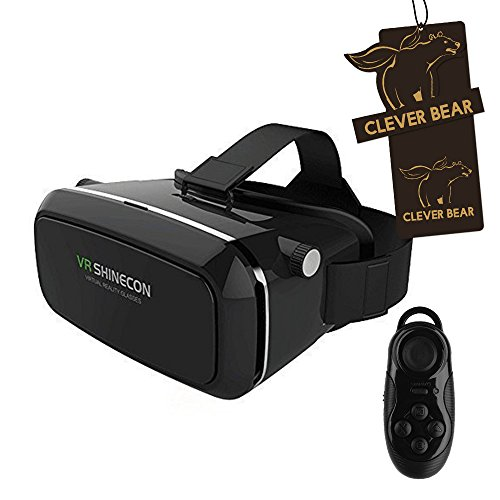 CLEVER BEAR Virtual Reality Headset Virtual Video 3D Glasses with Wireless Bluetooth Remote Controller (VR SHINECON)