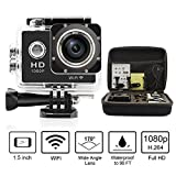 SportShot® - 1.5'' HD 1080P Waterproof Sports camera - Shockproof Carrying Storage Bag - Wifi 12MP Digital Helmet Car DVR - 170° Wide Angle Lens HDMI Output Action Camera - 20 Mounting Accessories