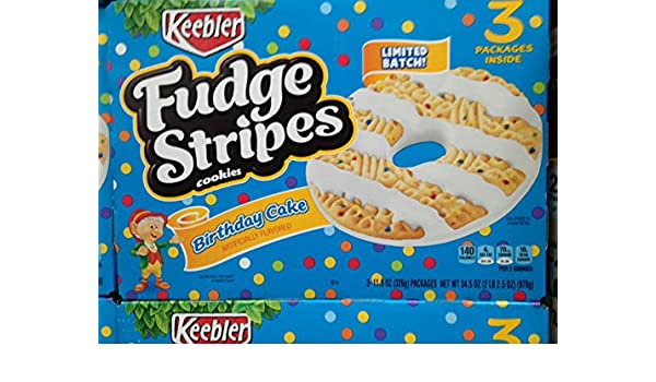 Amazon Keebler Fudge Stripes Birthday Cake Flavor Cookies 3 Ct 345 Oz Pack Of 2 A1