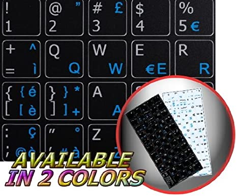 ITALIAN NON TRANSPARENT BLACK BACKGROUND KEYBOARD STICKERS for any PC Computer Laptop Desktop Keyboards