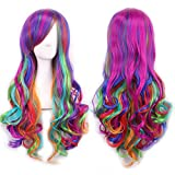27.5' Women's Full Wig Long Curly Hair Heat Resistant Wigs Harajuku Style Hair Wigs Costume Wigs Cosplay Party Lolita Wig (Dazzle Color) BU036A