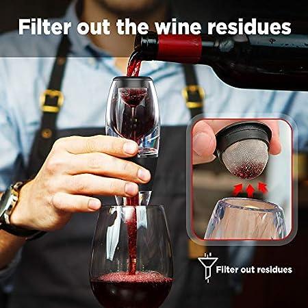 AIPIE Aireador de Vino Vertedor de Vino Tinto Decantador Sin BPA Incluye Bolsa de Transporte de Filtro Fácil de Usar, Limpio Suaviza el Sabor Original Del Vino de Manera Eficiente