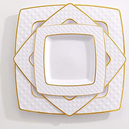 (75 Pieces Gold Plastic Plates, White Plates with Gold Rim,Diamond Square Plates, Disposable Elegant plates Set,Includes: 25 Dinner Plates 9.5