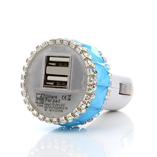 Mavis's Diary Bling Handmade 2 Amps / 1 Amps Dual USB Car charger Designed for iPhone iPad iOS and Android Devices with Soft Clean Cloth (Blue Diamond…