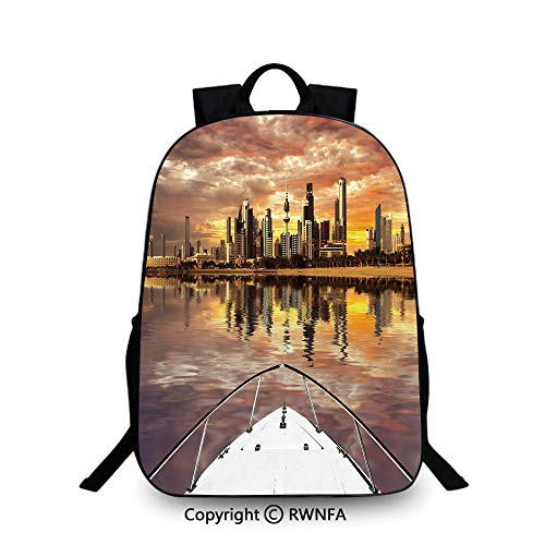 Backpack for Kids,Kuwait City Skyline From Sailboat Majestic Sky Skyscrapers Arabia Landscape Decorative School Backpacks For boys Multicolor