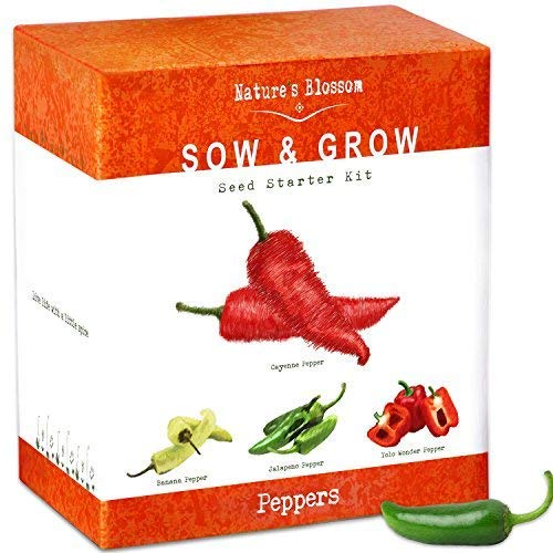 Grow 4 Types of Peppers from Seed - Cayenne Pepper, Hot Jalapeno, Sweet Red Peppers, Yellow Chilli Organic Seeds. Indoor Gardening Kit Makes a Unique Housewarming Present for Men and Women (Hot Chili Pepper Seeds)