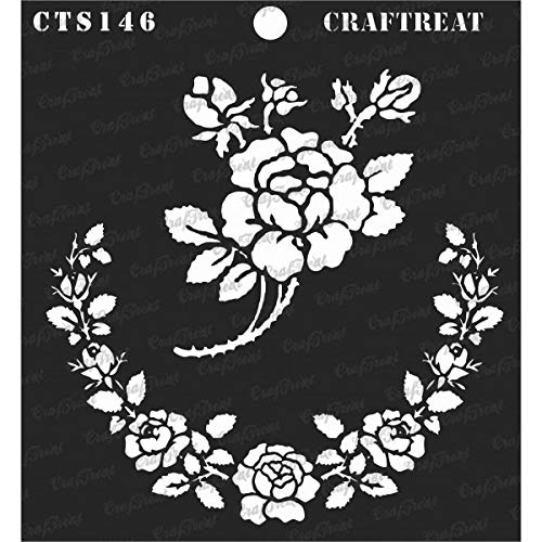 CrafTreat Stencil - Rose Parade Reusable Painting Template for Journal, Notebook, Home Decor, Crafting, DIY Albums, Scrapbook and Printing on Paper, Floor, Wall, Tile, Fabric, Wood 6x6 Inches ()