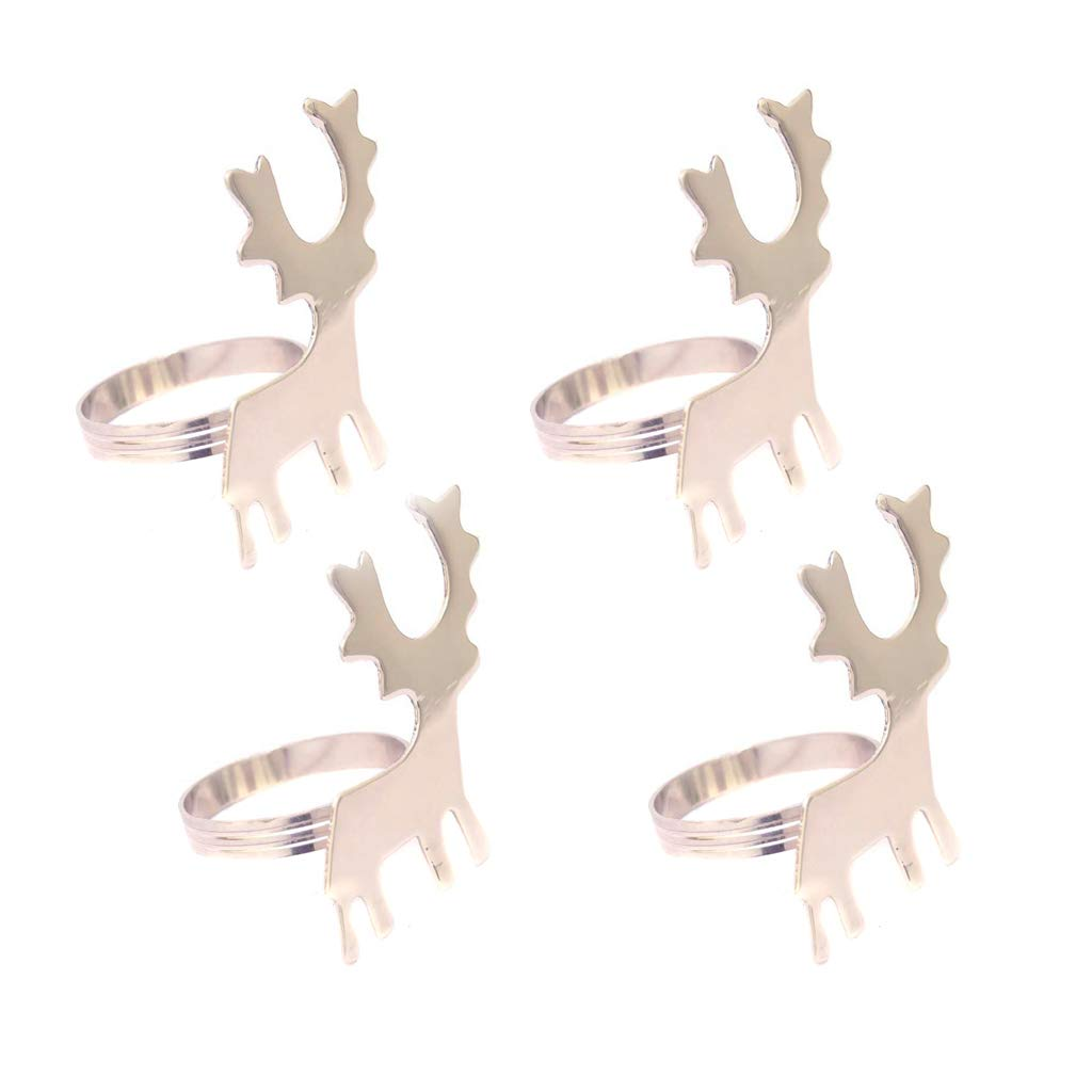 4 Novelty Silver Reindeer Napkin Holder Rings Christmas Dinner Party Tableware Dibor
