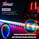 led light antenna - The One Led Lamp Auto Color Changing LED Light Whip & Safety Flag with Wireless Remote for Buggy, Dunes, Atv, Utv, Truck LED Safety Warning Light (300 patterns(with remote), 6FT(1.8m))