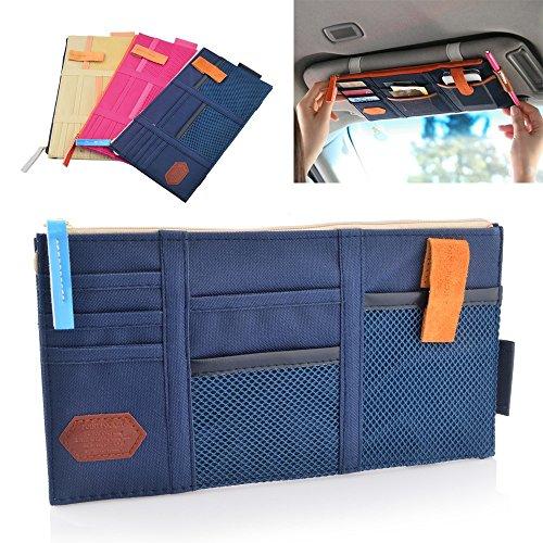 Auto Sun Visor Organizer All Vehicles Blue Zippered Cel Phone Tablet Holder