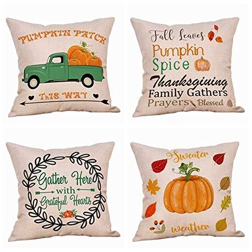 SLS Autumn Harvest Fruit Happy Thanksgiving Maple Squash Cotton Linen Decorative Throw Pillow Case Cushion Cover Piillow case 18