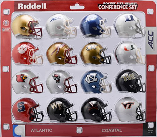Riddell Speed Pocket Pro Helmet ACC Conference 16 Helmets Set - The ACC features the BC, Duke, Clemson, FSU, GT, Miami, Louisville, NC, NC State, Pitt, Syracuse, Wake Forest, Virginia, VT - 2018 Set