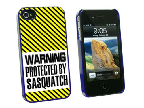 Graphics and More Warning Protected By Sasquatch - Snap On Hard Protective Case for Apple iPhone 4 4S - Blue - Carrying Case - Non-Retail Packaging - Blue