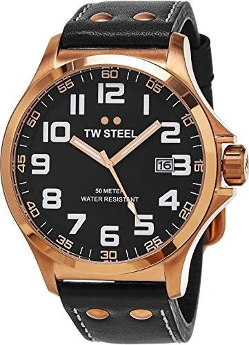 TW Steel Pilot Watch - Black Dial Date TW Steel Watch Mens - Black Leather Band 48mm Stainless Steel Plated Rose Gold Watch TW417