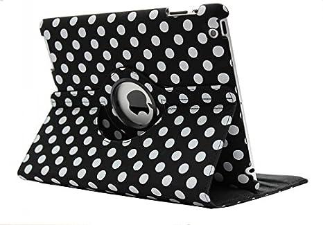 iPad 4 Case, KolorFish [iLittle] Polka Dots [Auto Wake/Sleep} Designer Funky Leather Rotation Flip Stand Book Type iPad Case Cover for Apple iPad 2, i