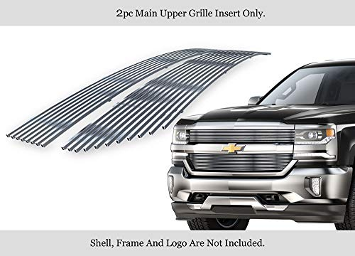 (APS Compatible with 2016-2018 Chevy Silverado 1500 Stainless Steel Polished Chrome 8x6 Horizontal Billet Grille Insert C66360S )
